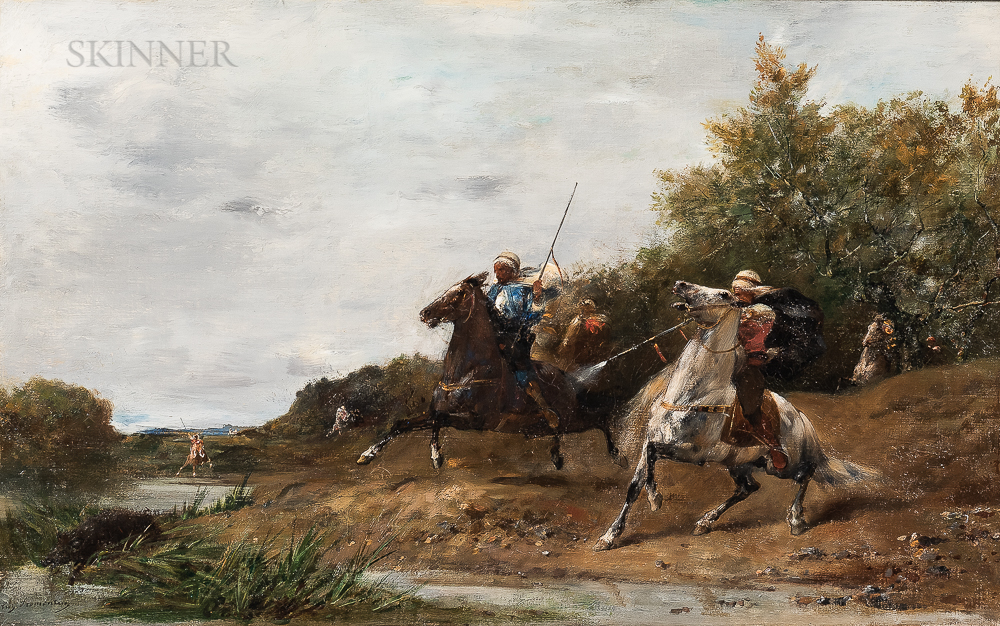Eugène Fromentin (French, 1820-1876)      Arab Horsemen Hunting Boar