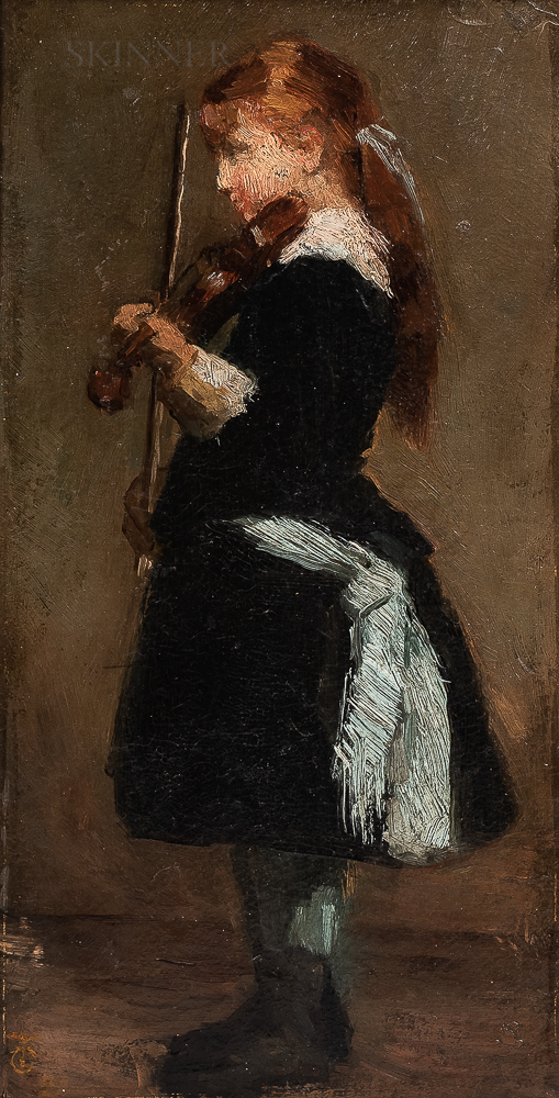 Attributed to William Morris Hunt (American, 1824-1879) or Henry Ossawa Tanner (American, 1859-1937), Girl with a Violin, Said to be Be