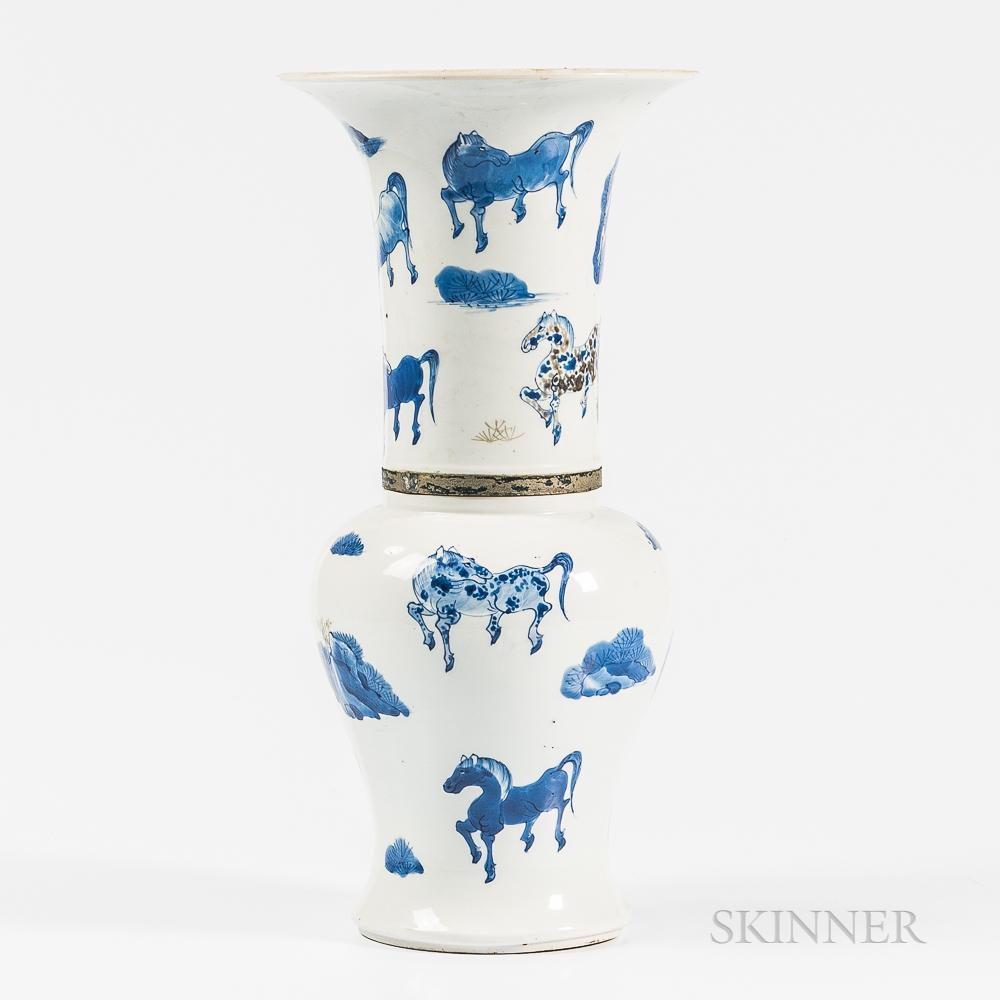Blue and White Yenyen   Vase