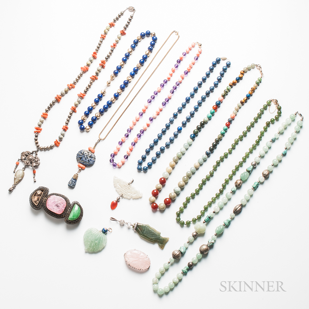 Group of Beads and Carved Hardstone Jewelry