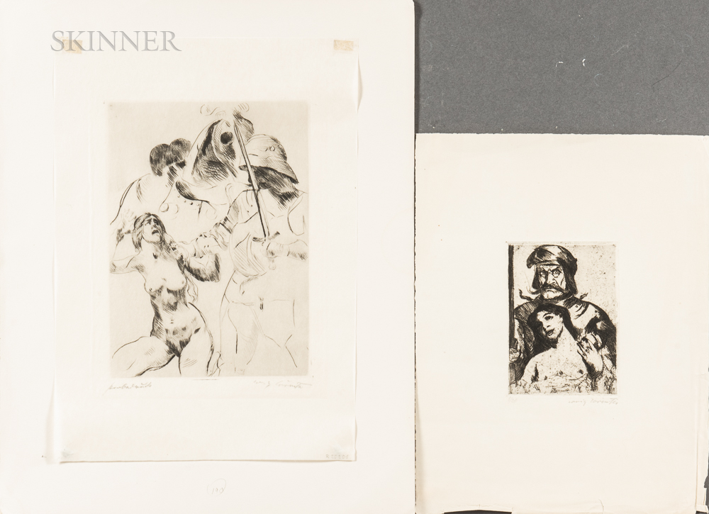 Lovis Corinth (German, 1858-1925)      Two Etchings: Der Ritter (The Knight)