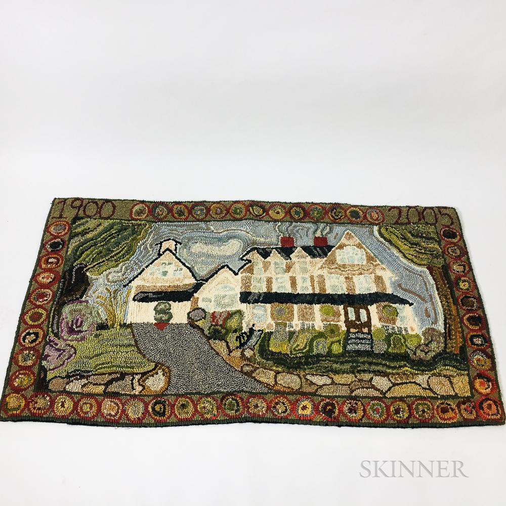 Nancy Adler Hooked Rug Depicting a House