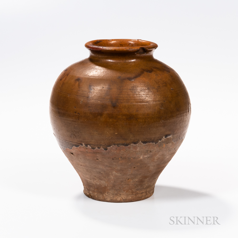 Brown-glazed Pottery Jar