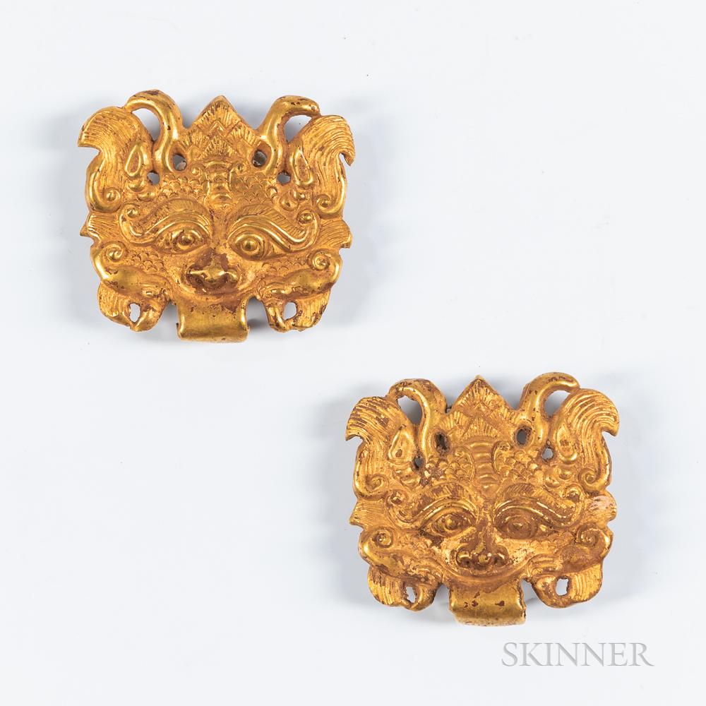Pair of Gold Taotie   Masks