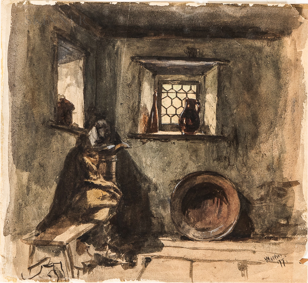 Henry Mosler (American, 1841-1920)      Farmhouse Interior.