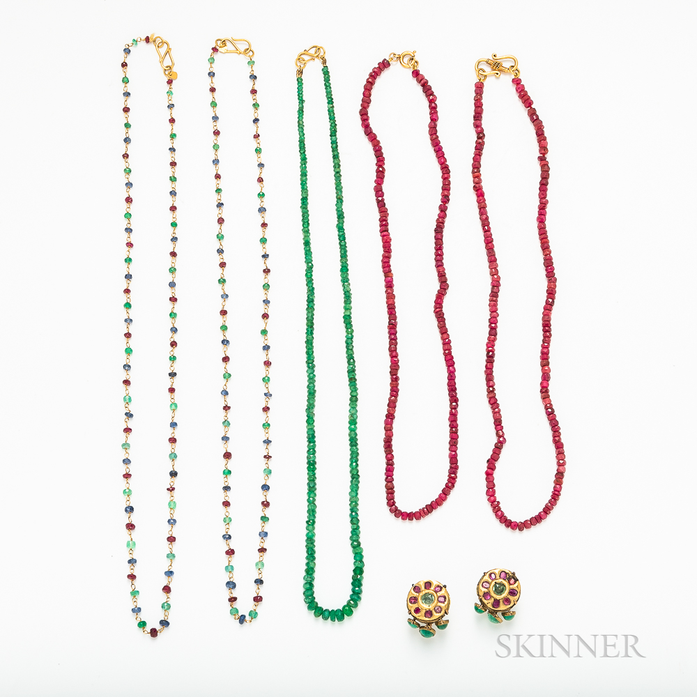 Group of Indian Gemstone Bead Jewelry