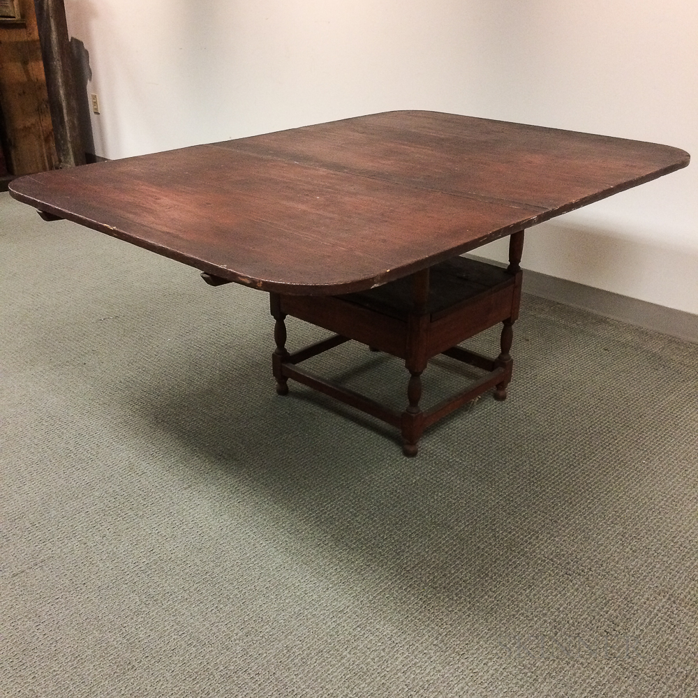 Country Red-painted Pine and Maple Hutch Table