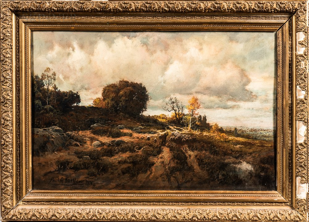 Paul R. Koehler (American, 1866-1909)      Autumn Landscape with Herder Driving a Flock