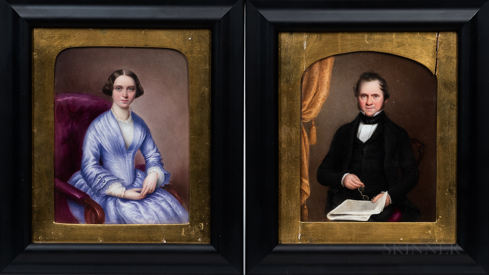 Anglo/American School, Late 19th Century      Pair of Miniature Portraits of a Man and Wife