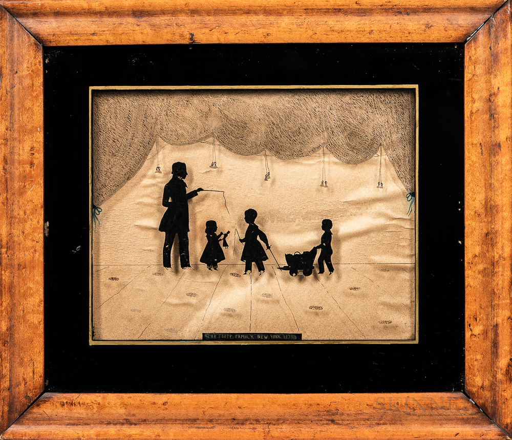 Reverse Painted Silhouette of the Foote Family