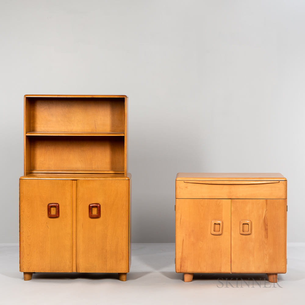 Heywood-Wakefield Server with Shelf and a Low Cabinet