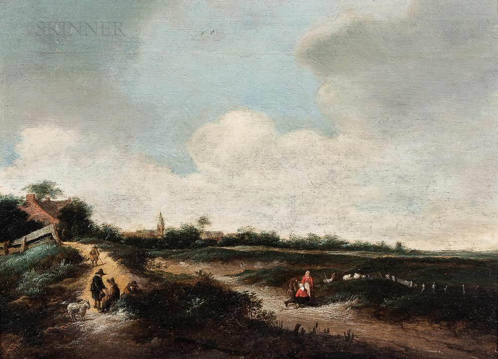 Haarlem School, Mid-17th Century      Landscape with Figures and Livestock Along a Path