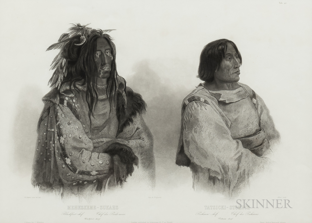 Karl Bodmer (1809-1893) Print Depicting Two Indians