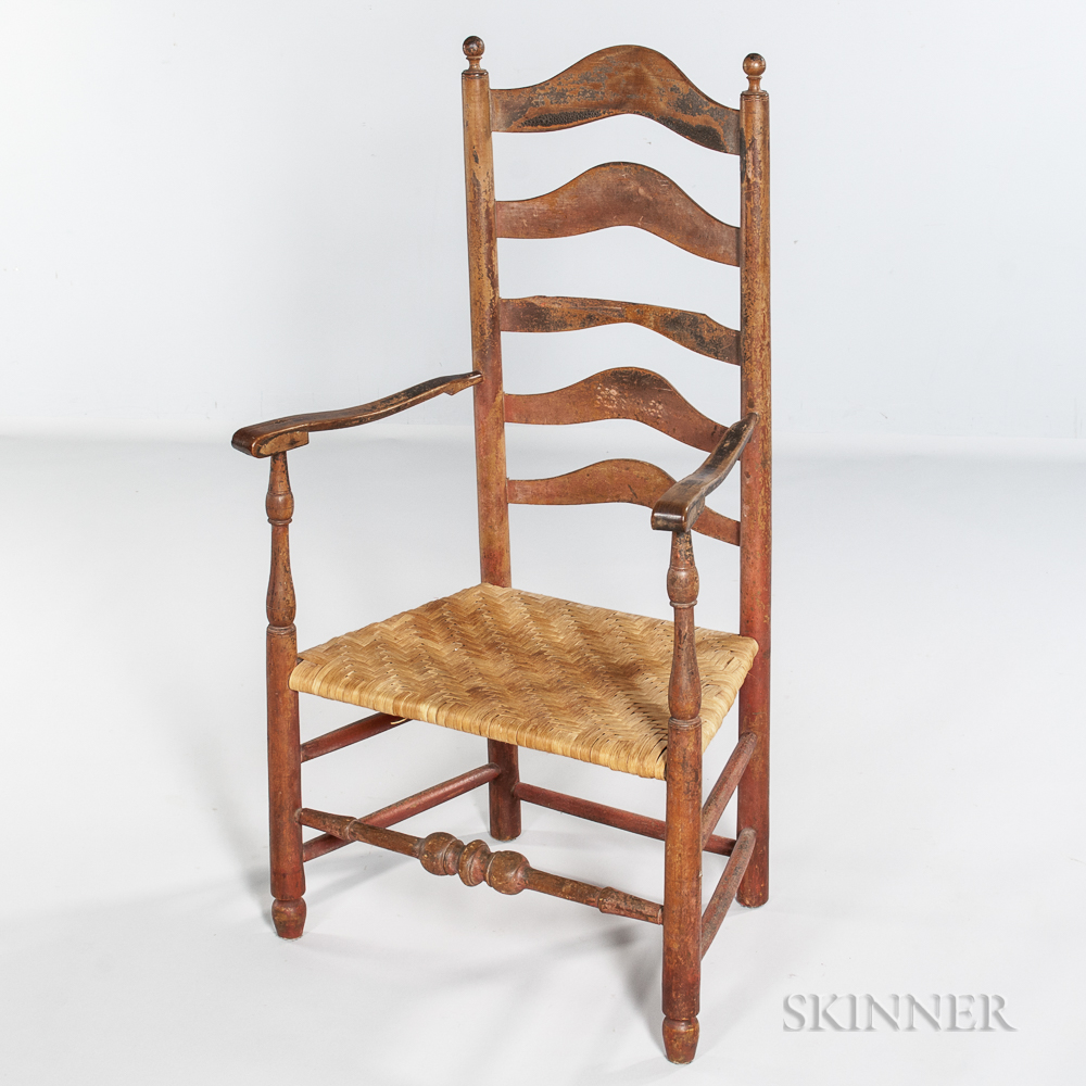 Red-painted Slat-back Armchair