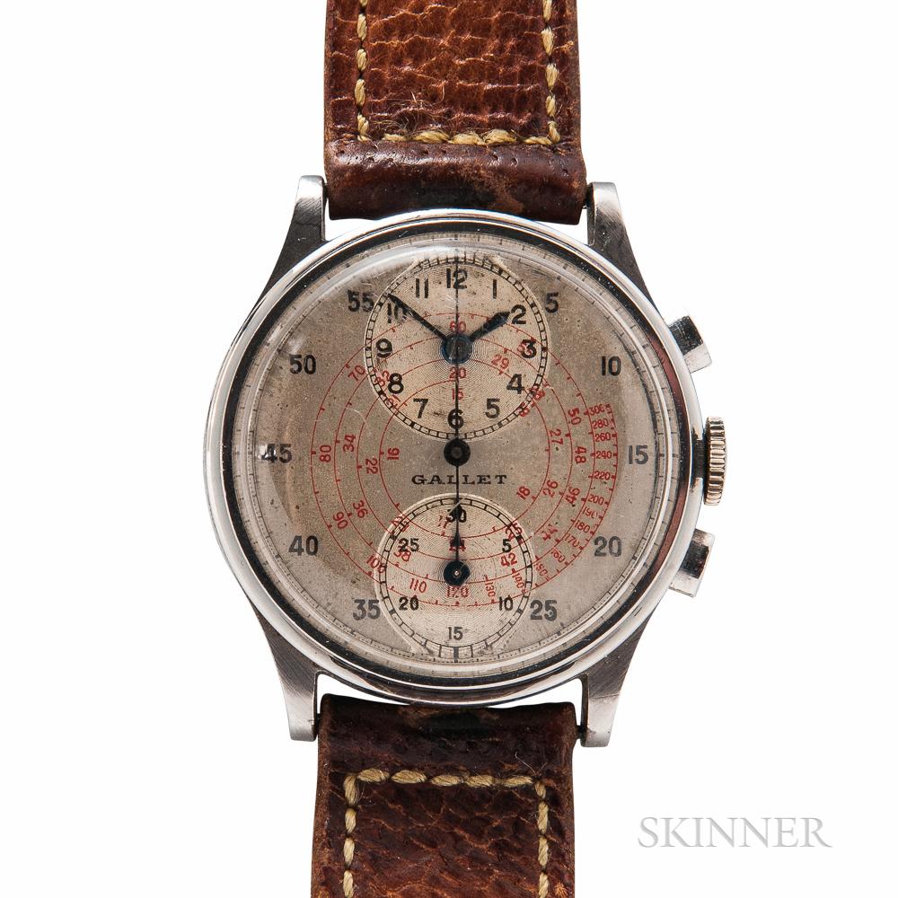 Gallet & Co. Stainless Steel MultiChron Regulator Wristwatch