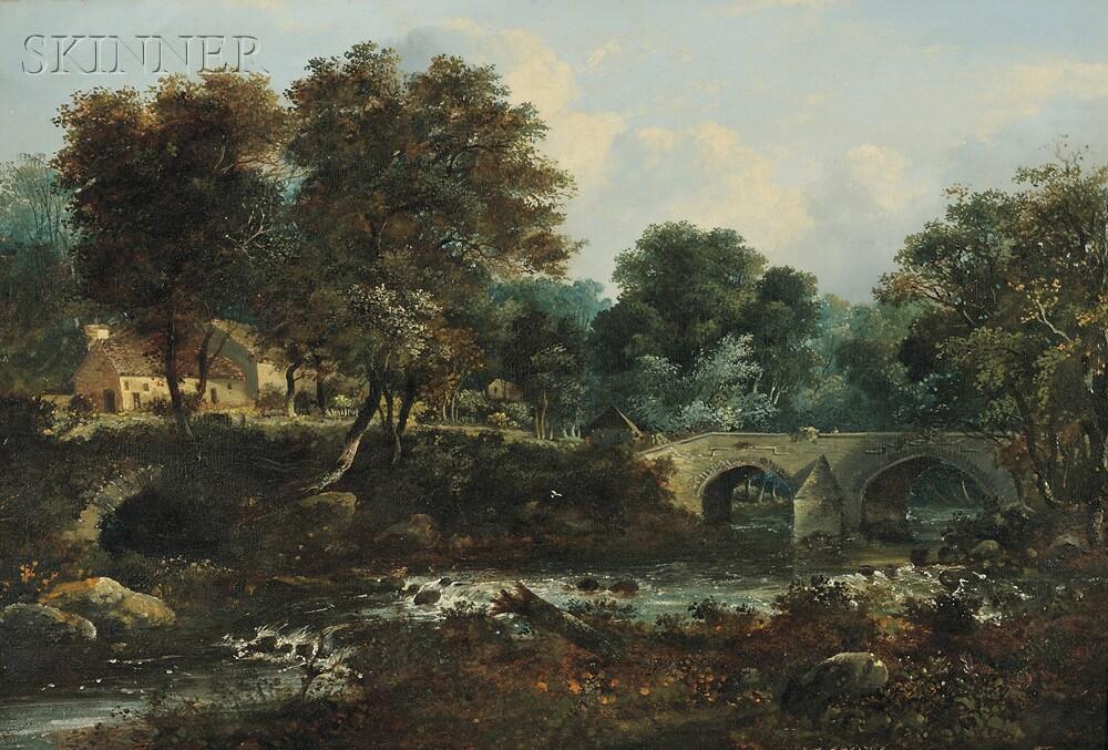 Manner of John Constable (British, 1776-1837)      The Old Cramond Bridge on the Almond Near Barnton, Edinburgshire...