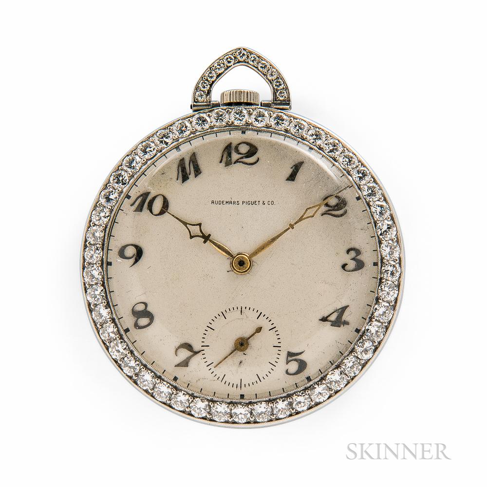 Audemars Piguet & Co. Platinum Open-face Diamond Bezel Watch