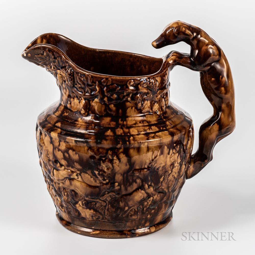 Harker Taylor Co. Rockingham-glazed Hound-handle Jug