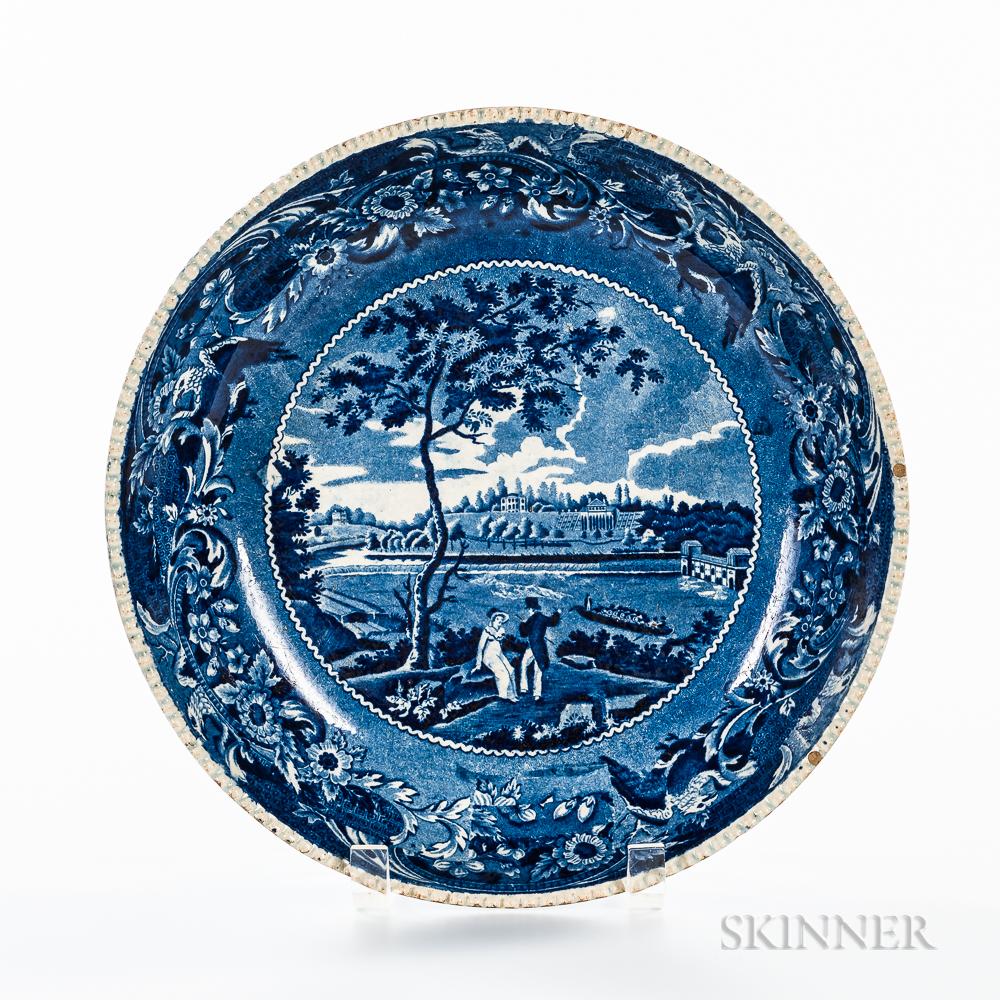 "Staffordshire Historical Blue Transfer-decorated ""Fair Mount Near Philadelphia"" Serving Bowl"