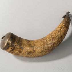 Intricately Carved Powder Horn