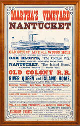 Martha's Vineyard and Nantucket, Old Colony Railroad and Ferry Poster.