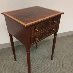 Robert Bodendorf Federal-style Satinwood-inlaid Mahogany Two-drawer Worktable