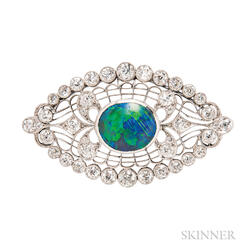 Art Deco Platinum, Black Opal, and Diamond Brooch