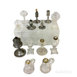 Eight Colorless Glass Fluid Lamps and Five Pewter Lamps