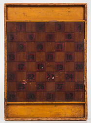Painted and Numbered Checkers Game Board
