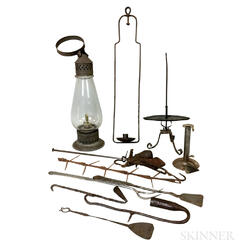 Group of Wrought Iron, Tin, and Glass Hearth and Lighting Items.     Estimate $300-500