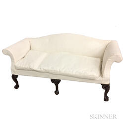 Chippendale-style Carved and Upholstered Mahogany Sofa