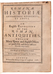 Godwin, Thomas (1587-1642) Romanae Historiae Anthologia Recognita et Aucta. An English Exposition of the Roman Antiquities.