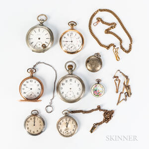 Eight Pocket Watches and Two Chains
