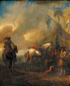 Manner of Philips Wouwerman (Dutch, 1619-1668)      Encampment with Horsemen