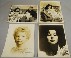 Three Clara Bow Autographed Portrait and Family Photographs and an Unsigned Family   Portrait Photograph