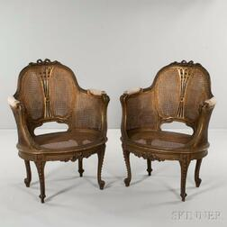 Pair of Louis XVI-style Caned Armchairs
