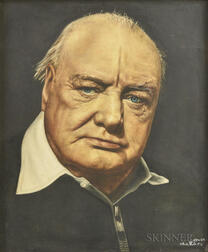 Framed Portrait of Winston Churchill Printed on Fabric