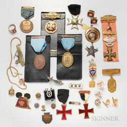 Group of Fraternal Medals and Related Items