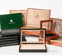 Five Wooden Pen Storage Boxes and Assorted Leather-bound Cases