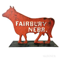 "Painted Cast Iron ""Fairbury Nebr."" Cow-form Sign"