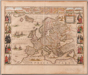 Europe. Willem Blaeu (1571-1638) Europa Recens Descripta a Guilielmo Blaeuw.