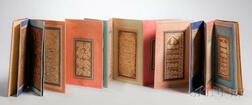 Persian Calligraphy, an Accordion Book of Twenty-one Examples, 18th-19th Century.