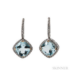 14kt White Gold and Aquamarine Earrings