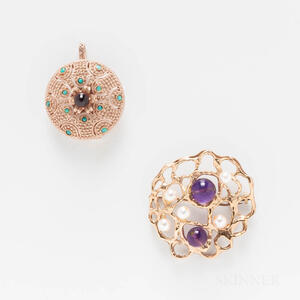 Two 14kt Gold Brooches
