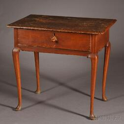 Queen Anne Maple and Pine Side Table with Drawer