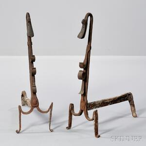 Pair of Wrought Iron Swan-form Andirons