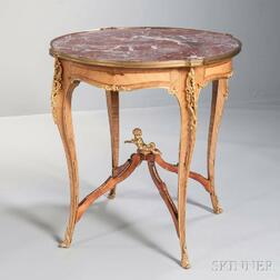 Louis XV-style Marble-top Inlaid Satinwood Table d'Ambulant