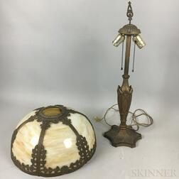 Bronzed Metal and Slag Glass Overlay Table Lamp