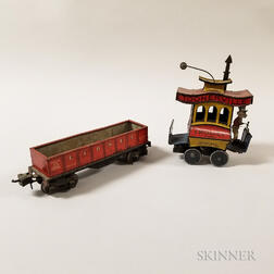 "Fontaine Fox Tin Mechanical ""Toonerville Trolley"" and Lionel Train Car.     Estimate $300-500"
