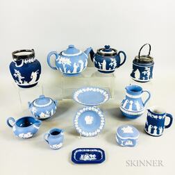 Thirteen Pieces of Wedgwood Blue Jasper Tableware